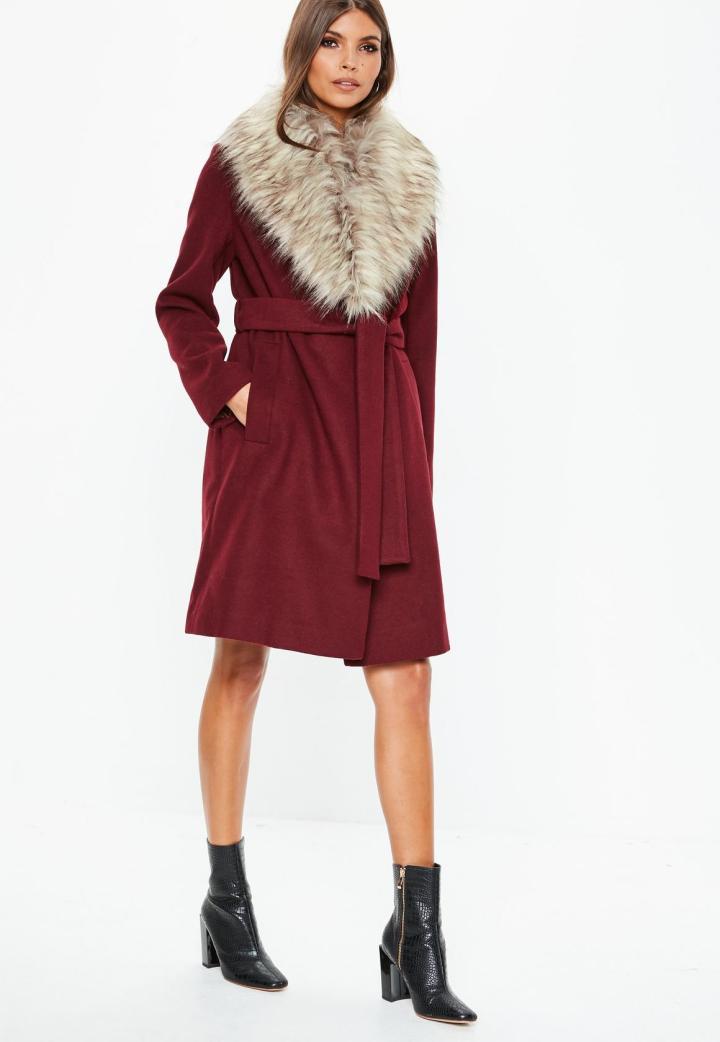 burgundy-faux-fur-collar-coat